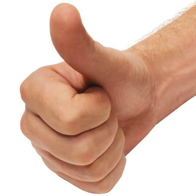 non verbaal duim hand vingers uitstraling