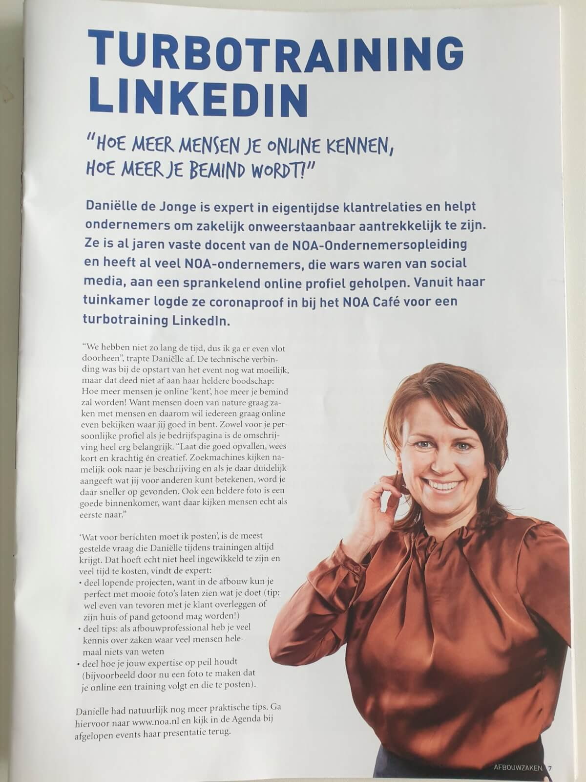 NOA Afbouw turbotraining LinkedIn